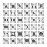Set of metalic icons. Metal buttons in the squares. Vector illustration. Stock Photography