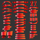 Set of metalic ribbons, badges, and label illustration Royalty Free Stock Photography
