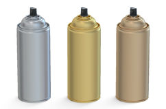 Set of metallic aerosol spray cans Royalty Free Stock Images