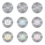 Set of metallic app icons. Power Button Vector Royalty Free Stock Images