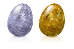 Set of metallic easter eggs - golden and silver. Royalty Free Stock Images