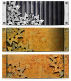 Set of Metallic Headers Grunge Gears Royalty Free Stock Images