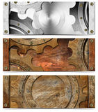 Set of Metallic Headers Grunge Gears Royalty Free Stock Image