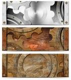 Set of Metallic Headers Grunge Gears Royalty Free Stock Image
