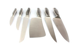 Set of metallic knifes Royalty Free Stock Photos