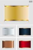 Set of metallic labels. On grey Royalty Free Stock Photo