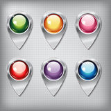 Set of metallic map pointers with colored shiny buttons. On a metal textured  background for websites or applications (app) for smartphones and tablets Stock Image