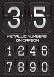 Set of metallic numbers on carbon background Royalty Free Stock Photos