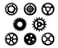 Set of metallic pinions and gears Stock Images