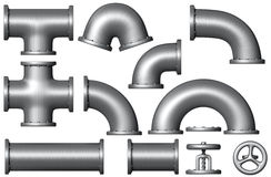 Set of metallic pipes and tubes. Industrial illustration. Added clipping path Royalty Free Stock Photography