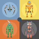 Set of Metallic Robots or Droids on Four Icons. Cartoon cards of mechanical or electronic device with dish antenna, many buttons, horns for receiving signal Stock Photos