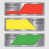 Set of metallic textured banners. web banners with realistic steel texture in abstract forms. Stock Photo