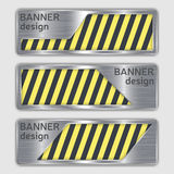Set of metallic textured banners. web banners with realistic steel texture in abstract forms. Royalty Free Stock Image