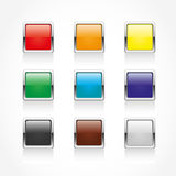 Set of 9 metallic web buttons. 9 metallic web buttons of different colours Stock Photo