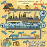 Set of metallurgy icons, metal working tools; steel profiles for Royalty Free Stock Photos