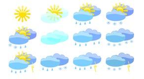 Set of meteorology symbols. Set of weather element witch shows seasonal change Stock Images