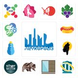 Set of metropolis, bank transfer, wardrobe, grizzly bear, silver star, black wolf, snowman, hot dog, cyclist icons. Set Of 13 simple editable icons such as Royalty Free Stock Image