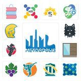 Set of metropolis, pillow, bank transfer, martial arts, grape leaves, wardrobe, equestrian, wolf face, warrior head icons. Set Of 13 simple editable icons such Royalty Free Stock Photos