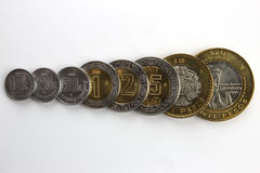 Mexican coins. Set of Mexican coins, arranged by increasing value and overlapping on each other. Includes 10, 20 and 50 cents, plus 1, 2, 5, 10 and 20 pesos Royalty Free Stock Photos