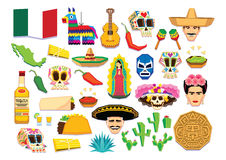 Set Of Mexican Elements Isolated On White Background. Vector Set Of Mexican Elements Isolated On White Background Royalty Free Stock Photography