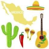 A set of Mexican. Sombrero, guitar, maracas, cactus, hot peppers. Map of Mexico. stock illustration