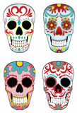 Set of Mexican Sugar Skulls. Collection of traditional mexican sugar skulls for the Day of the Dead or Dia de los Muertos Stock Images