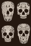 Set of Mexican Sugar Skulls Stock Image