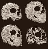Set of Mexican Sugar Skulls. Collection of traditional mexican sugar skulls for the Day of the Dead or Dia de los Muertos Royalty Free Stock Photography
