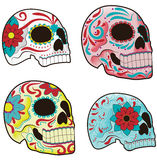 Set of Mexican Sugar Skulls. Collection of traditional mexican sugar skulls for the Day of the Dead or Dia de los Muertos Royalty Free Stock Photo