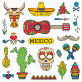 Set of Mexican traditional and cultural elements Stock Photos