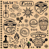 Set of Mexican vector symbols Royalty Free Stock Photography