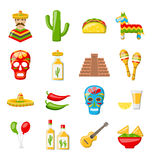 Set of Mexico Icons Isolated on White Background Stock Images