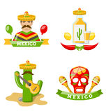 Set of Mexico Icons Isolated on White Background Royalty Free Stock Photos