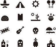 Set of Mexico related web icons Stock Photo