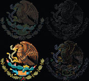 Set of Mexico symbol. Illustration with the eagle present on Coat of arms of Mexico, in the middle of the flag, in original version and in other 3 digitally royalty free illustration