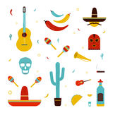 Set on a mexico theme. Different mexican bright icons collection: maracas, cactus, hat, guitar, mask, pepper, tequila. Skull trumpet Colorful vector Royalty Free Stock Photo