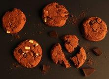 Set miękkiej banatki słodka bułeczka ciastka z czekoladowymi kawałami Zdjęcia Royalty Free