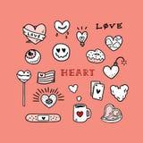 Set miłość tatuażu ręka rysująca wektorowa ilustracja z smiley, cukierek, filiżanka, pączek, światło, bomba, flaga, oko, karta, f Zdjęcia Stock