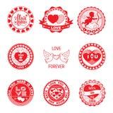 Set miłość znaczki w czerwieni Fotografia Royalty Free