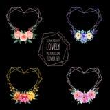 Set miłości akwareli geometryczny kwiat ilustracja wektor