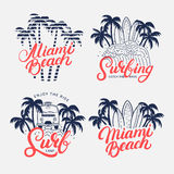 Set of Miami Beach and Surfing hand written lettering. Stock Photos