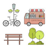 Set miasto centrali parka elementy, plenerowych scen Kreskowa sztuka Obrazy Stock