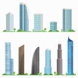 Set miasto drapacze chmur Odosobneni budynki z nowożytną architekturą również zwrócić corel ilustracji wektora Obraz Stock