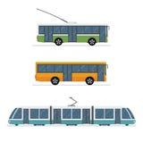 Set miasto tramwaju autobus, autobus i tramwaj odizolowywający na białym tle, Zdjęcie Stock