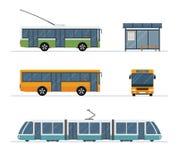 Set miasto tramwaju autobus, autobus, tramwaj i autobusowa przerwa odizolowywający na białym tle, Zdjęcia Royalty Free