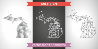 Michigan collection of vector design modern maps, gray and black and silver dot outline mosaic 3d map. Set of Michigan polygonal mosaic modern maps Royalty Free Stock Photography