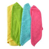 Set of microfiber cleaning cloths on white. Stock Photos