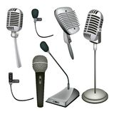 A Set of Microphone on White Background Royalty Free Stock Photos