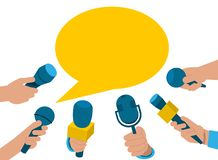 A set of microphones. Collection microphones in hand vector illustration
