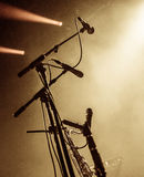 Set of microphones on stage with copyspace Stock Image
